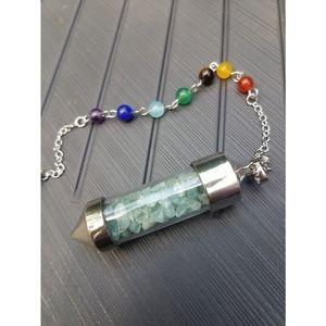 Aquamarine Chakra Wishing Bottle Pendant Pendulum